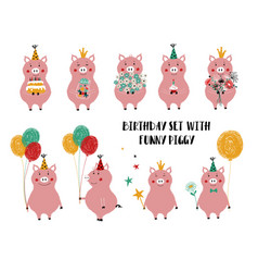 birthday set with cute pig vector image