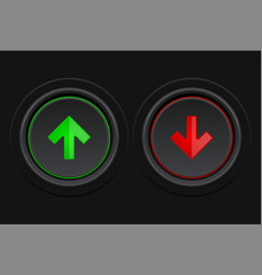 black round buttons green and red arrows as up vector image
