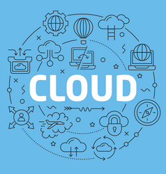 Blue line flat circle cloud vector