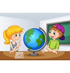 Boy and girl studying geography vector image