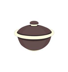 brown ceramic tea bowl vector image