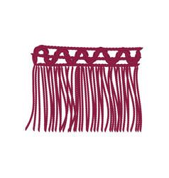Burgundy braid with long threads vector