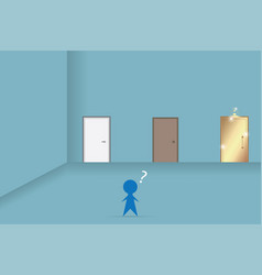 businessman decision in front of three doors vector image