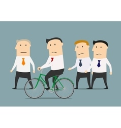 Businessman on bicycle overtaking a colleagues vector