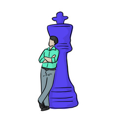 businessman standing with big blue chess vector image