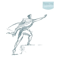 Businessman waving cloak winner hero vector
