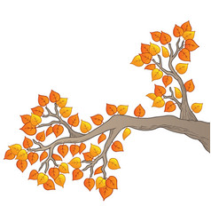 Cartoon tree branch with leaves 2 vector