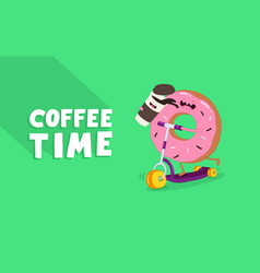 coffee and donut riding a scooter graphics vector image