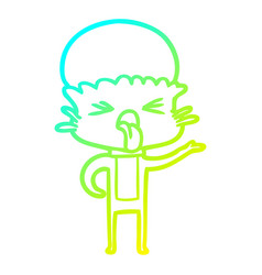 Cold gradient line drawing disgusted cartoon alien vector