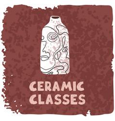Colorful ceramic vase ceramic vector