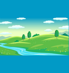 colorful summer bright fields with river landscape vector image