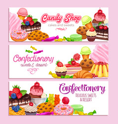 Confectionery and sweets banners vector