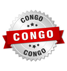 Congo round silver badge with red ribbon vector