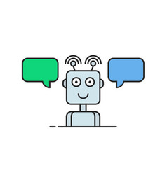 contour hotline support chatbot logo vector image