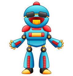 cute cartoon robot character with sunglasses isola vector image
