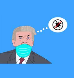donald trump wearing a face mask coronavirus vector image