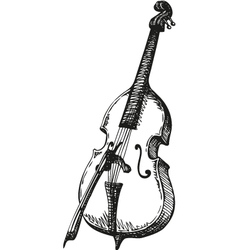 Double Bass with a bow vector