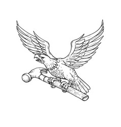 Eagle clutching hammer drawing vector