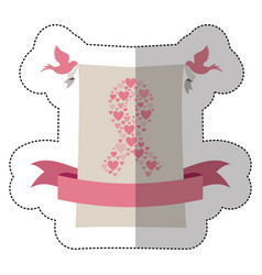 Emblem breast cancer hearts and doves icon vector