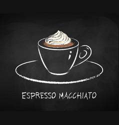 Espresso macchiato chalk vector