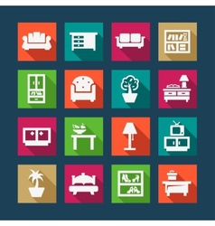 Flat furniture icons vector