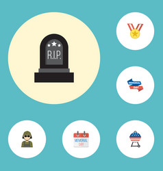 flat icons military man tomb medallion and other vector image