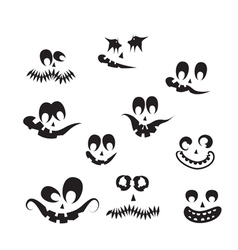 Ghost faces pumpkin faces vector
