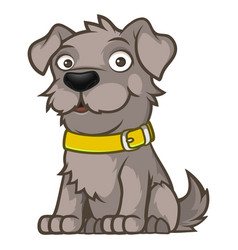 gray outbred dog in a sitting pose vector image