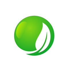 green leaf round icon eco logo vector image