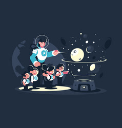 guide with school children in planetarium vector image