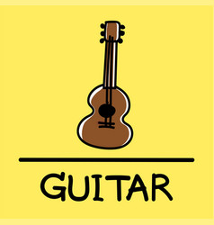 guitar hand-drawn style vector image