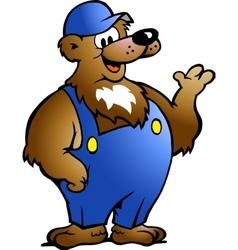 Hand-drawn of an Bear in Blue Overalls vector image