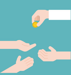 hand giving gold coin and another three hands vector image