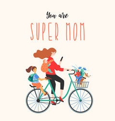 Happy mothers day super mom on a bicycle with vector