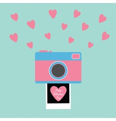 Happy Valentines Day Love card Camera Instant vector