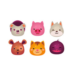 heads of cute animals set bear face of dog cat vector image
