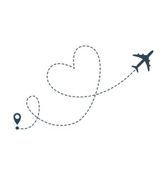 Heart airplane route airplane heart flight from vector