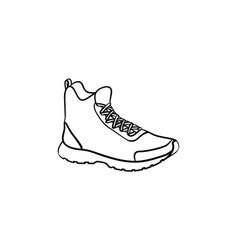 Hiking boot hand drawn outline doodle icon vector