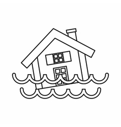 House sinking in a water icon outline style vector