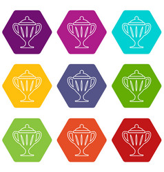 ice hockey cup icons set 9 vector image