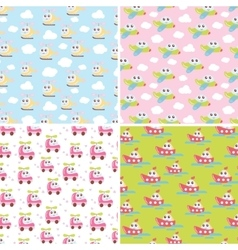 Kids patterns set with cute car airplane vector image