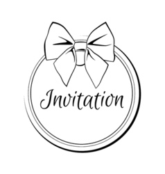 Label Ribbon Bow Wedding Invintation Template vector