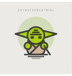 little green extraterrestrial with ears logo icon vector image