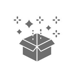 Magic box with confetti gift grey icon vector