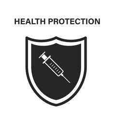 medical shield with syrigne icon modern flat vector image