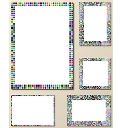 Multicolor pixel mosaic page layout template set vector