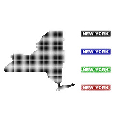 New york state map in dot style with grunge title vector