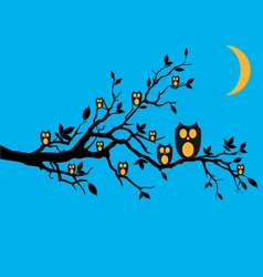 Night owls on tree branch vector