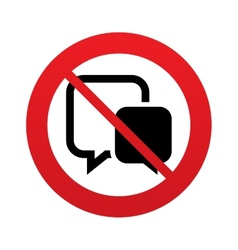 No Chat sign icon Speech bubbles symbol vector