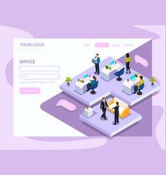 Office people isometric web page vector